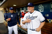 SAN DIEGO, CA, SEPTEMBER 6: Pat Murphy, Manager of the Tucson Padres visits with Rene Rivera #44 of the San Diego Padres prior to the game against the Colorado Rockies at Petco Park on September 6, 2013 in San Diego, California. (Photo by Andy Hayt/San Diego Padres/Getty Images)